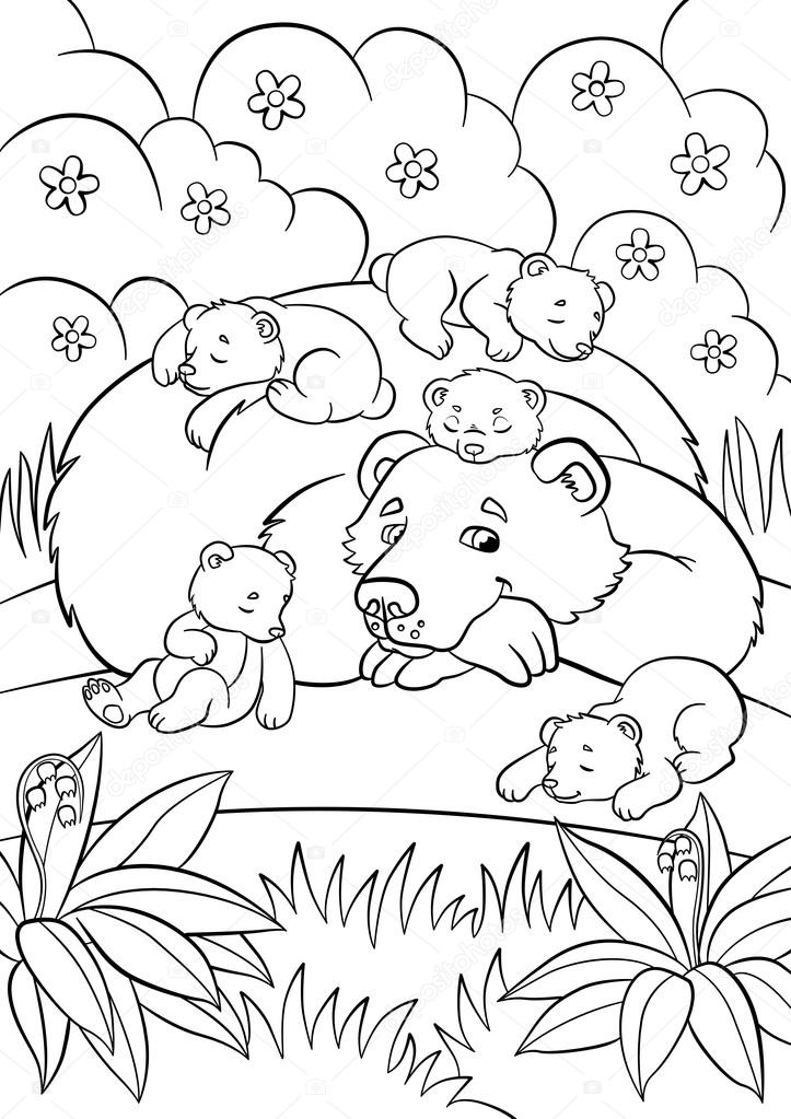 Dibujos para colorear. Animales salvajes. Bueno Oso mira poco lindo ...