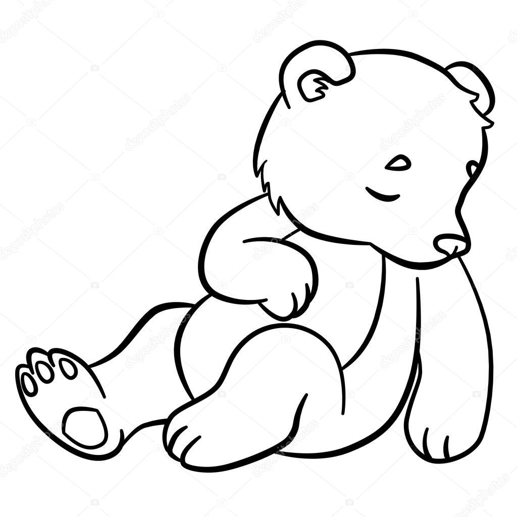 Malvorlagen. Wilde Tiere. Kleine niedliche Baby Bär schläft ...
