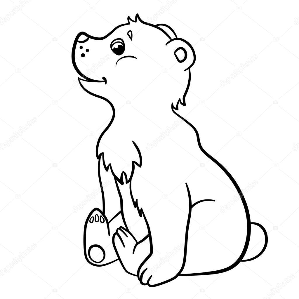 Boyama Sayfaları Vahşi Hayvanlar Küçük şirin Bebek Ayı Stok