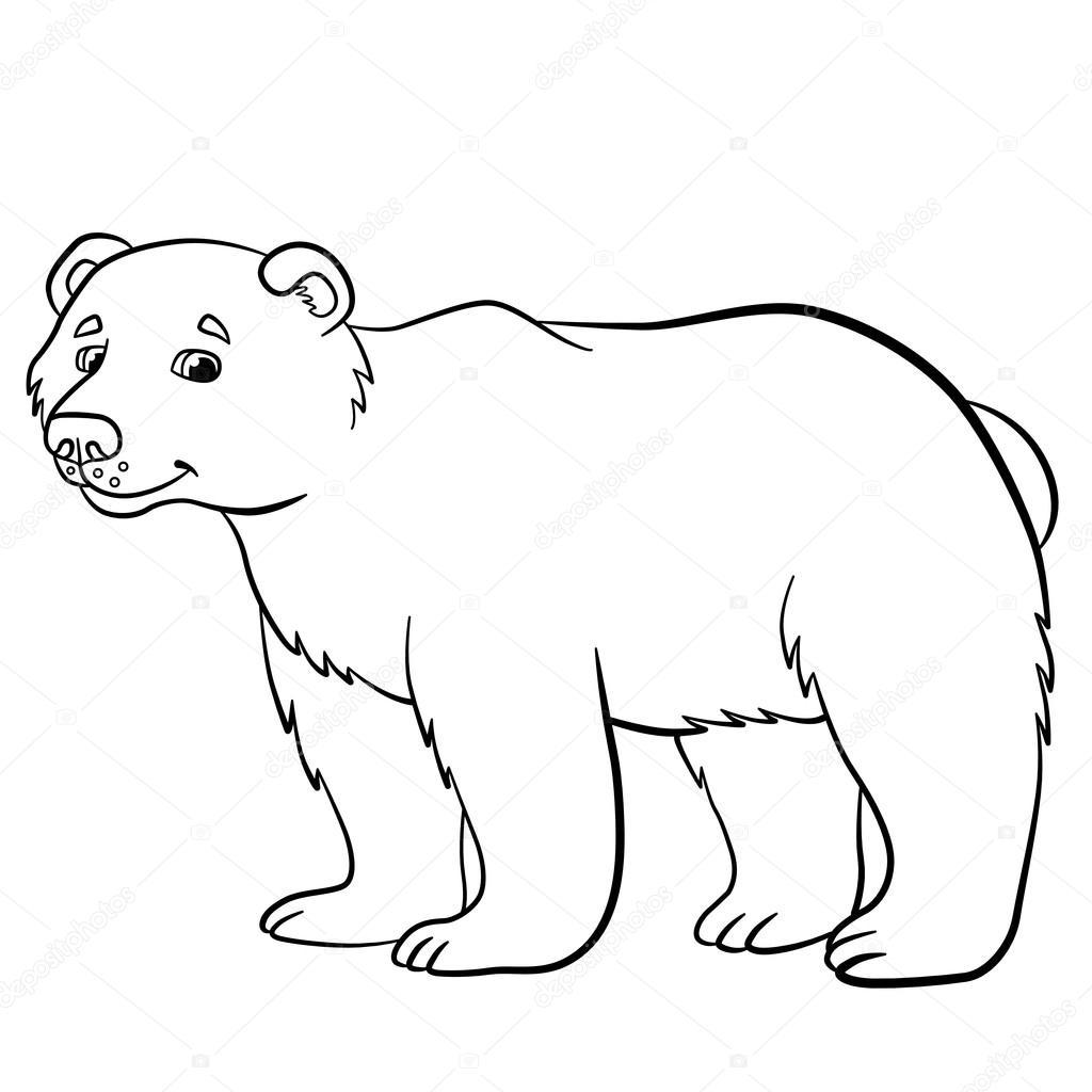 Malvorlagen. Wilde Tiere. Niedliche Bären Lächeln — Stockvektor © ya ...
