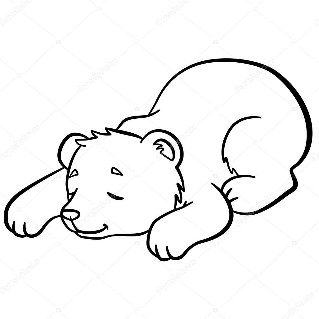 Dibujos para colorear. Animales salvajes. Osito lindo bebé duerme ...