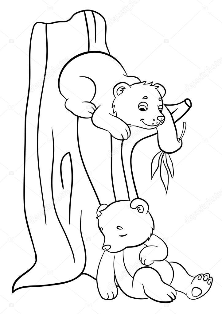 Dibujos para colorear. Animales salvajes. Dos osos bebé lindo ...