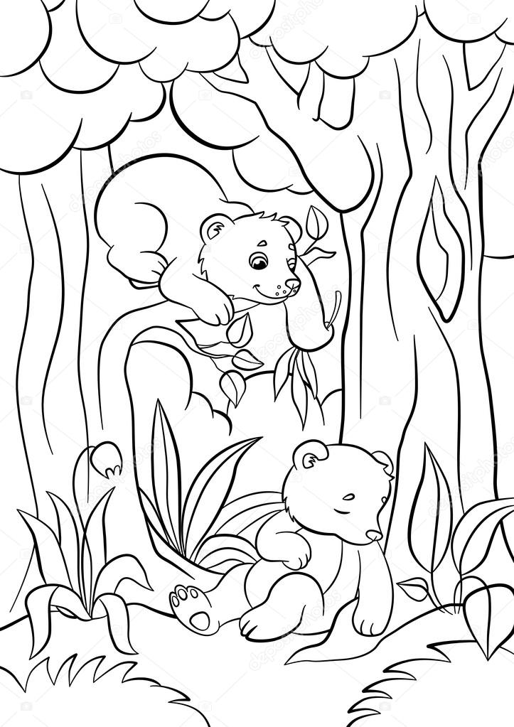 Coloring pages. Wild animals. Two little cute baby bears in the ...