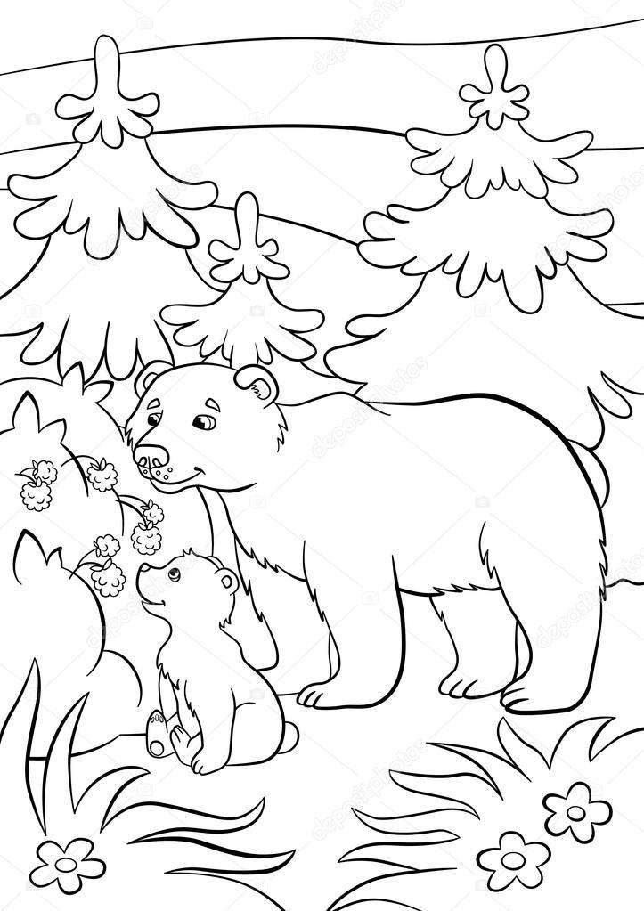Malvorlagen. Wilde Tiere. Freundlicher Bär und kleine niedliche Baby ...