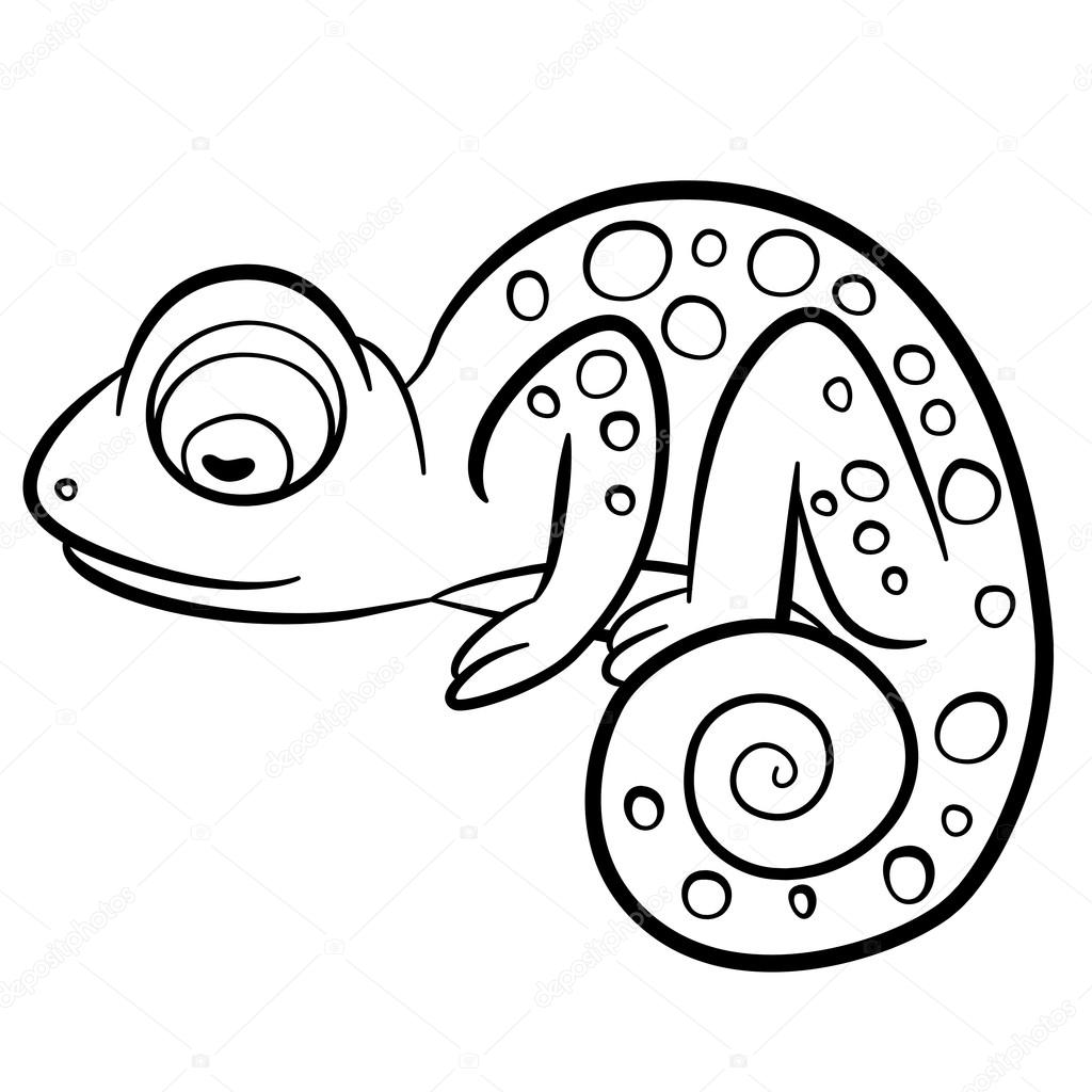 Coloring pages. Wild animals. Little cute chameleon. — Stock Vector ...