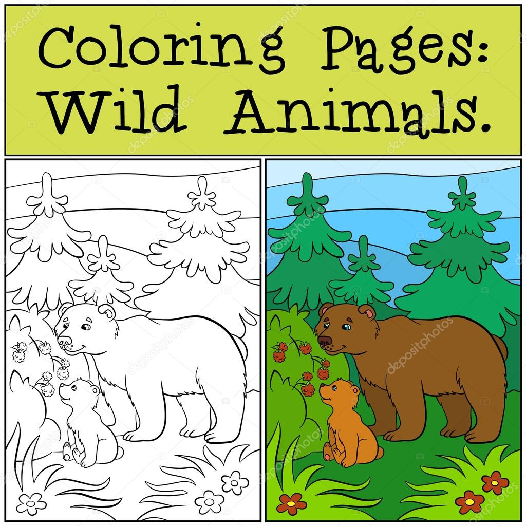 Coloring pages wild animals daddy bear with his little cute ba