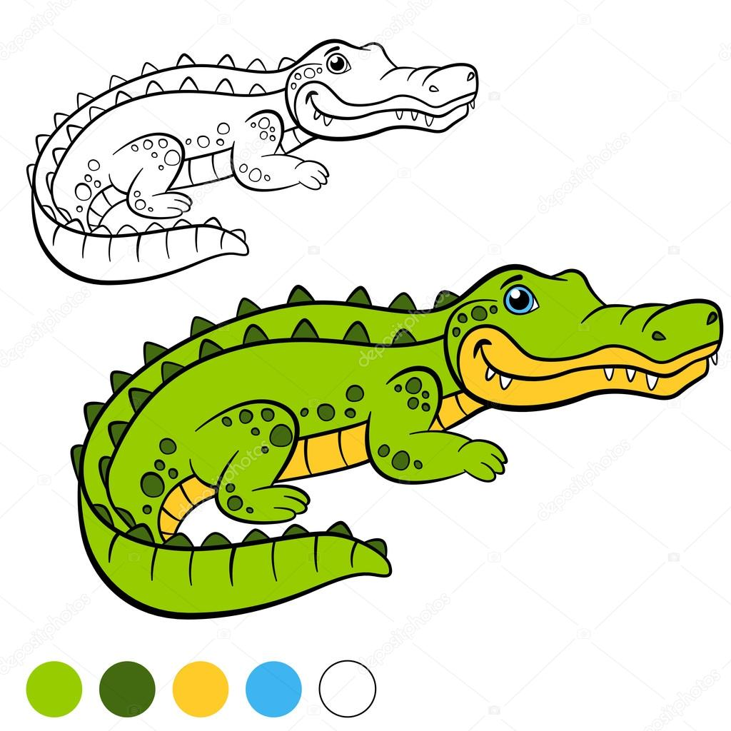 Coloring page. Color me: alligator. Little cute alligator. — Stock ...