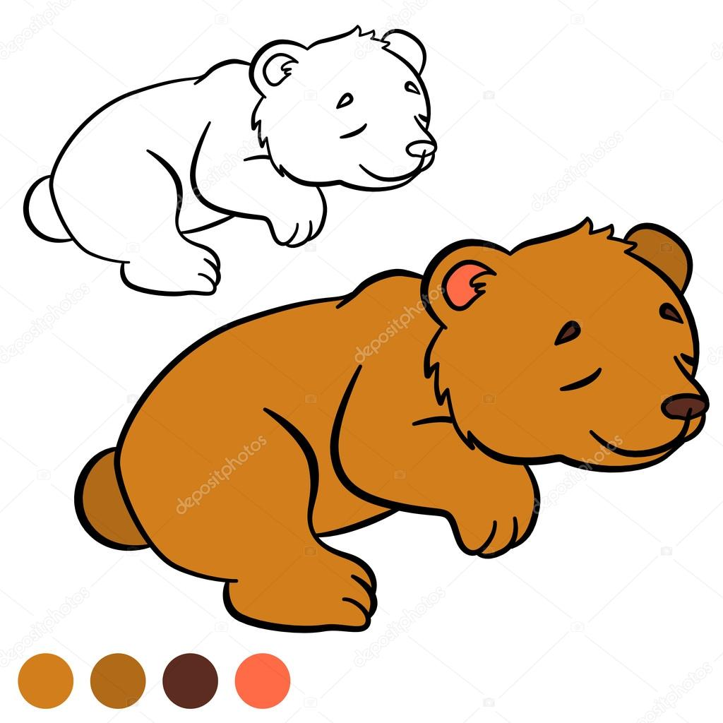 Coloring Page Color Me Bear Little Cute Baby Bear Stock
