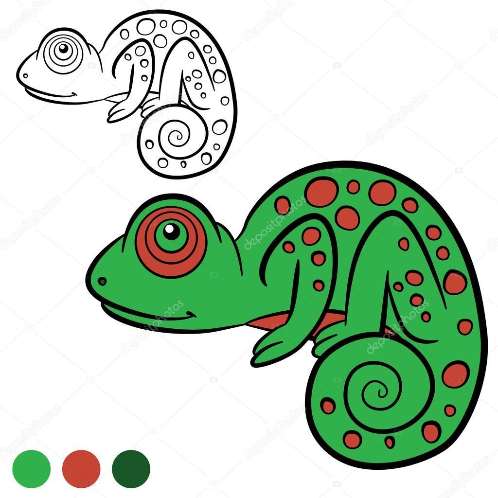 Coloring page. Color me: chameleon. Little cute green chameleon ...