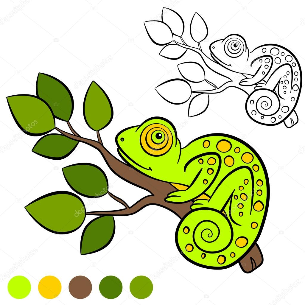 Coloring page. Color me: chameleon. Little cute green chameleon sits ...