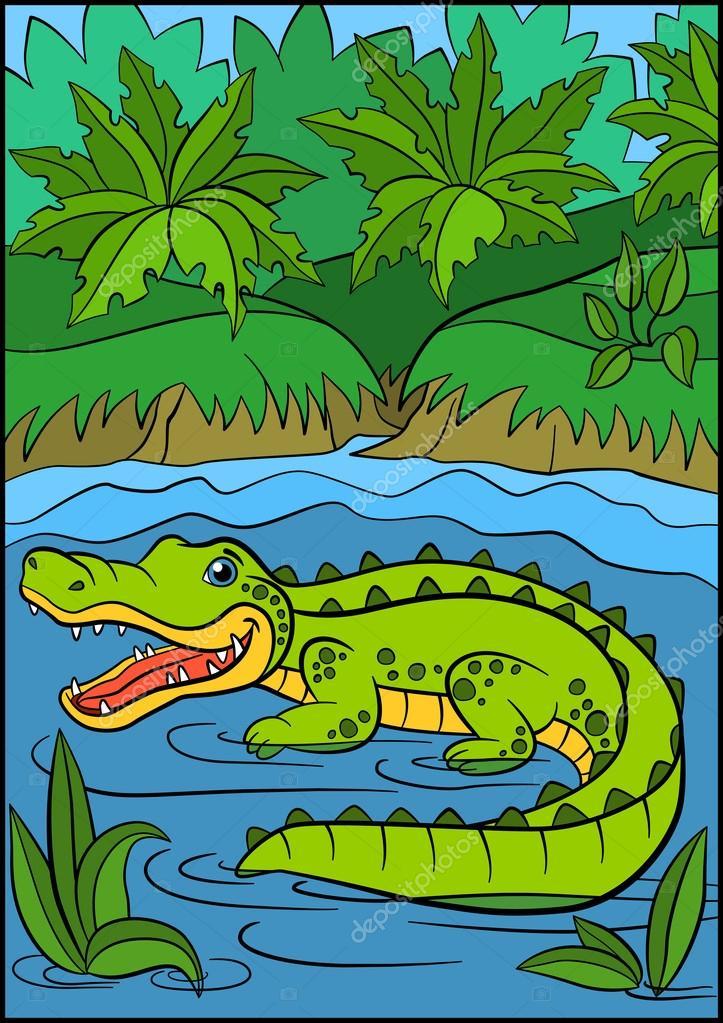 Animales de la historieta para niños. Cocodrilo lindo poco — Vector ...