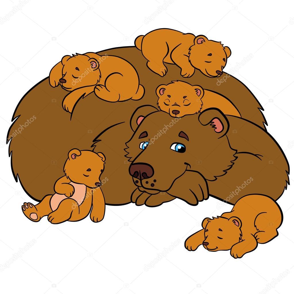 Top de dessin animé pour enfants. Papa ours avec son petit bébé mignon  YK05