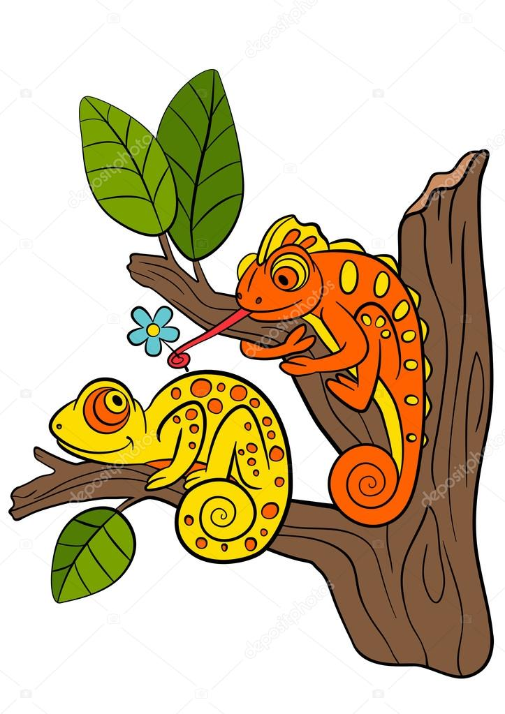 cartoon animals for kids two little cute chameleons