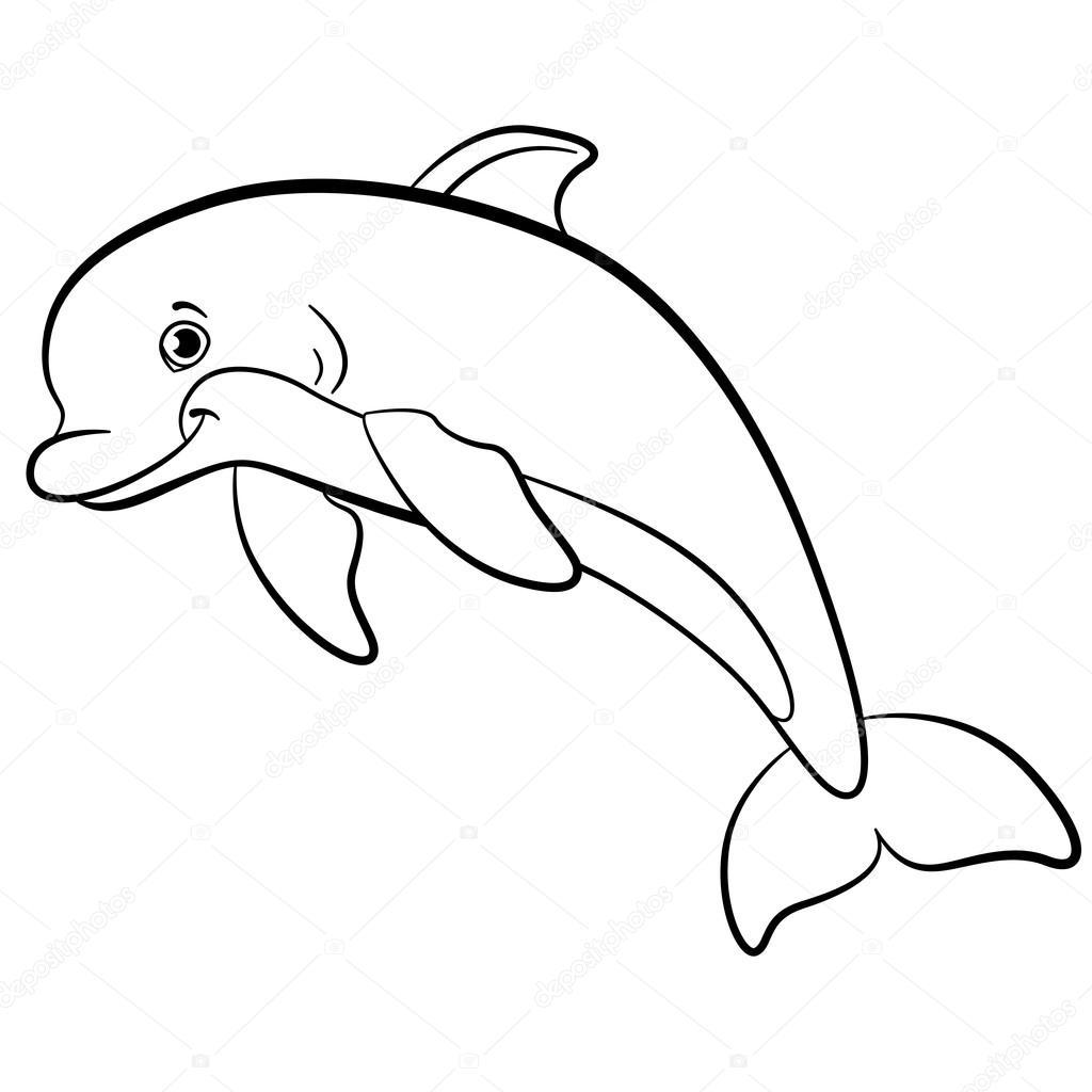 Dibujos para colorear. Animales salvajes marinos. Pequeño delfín