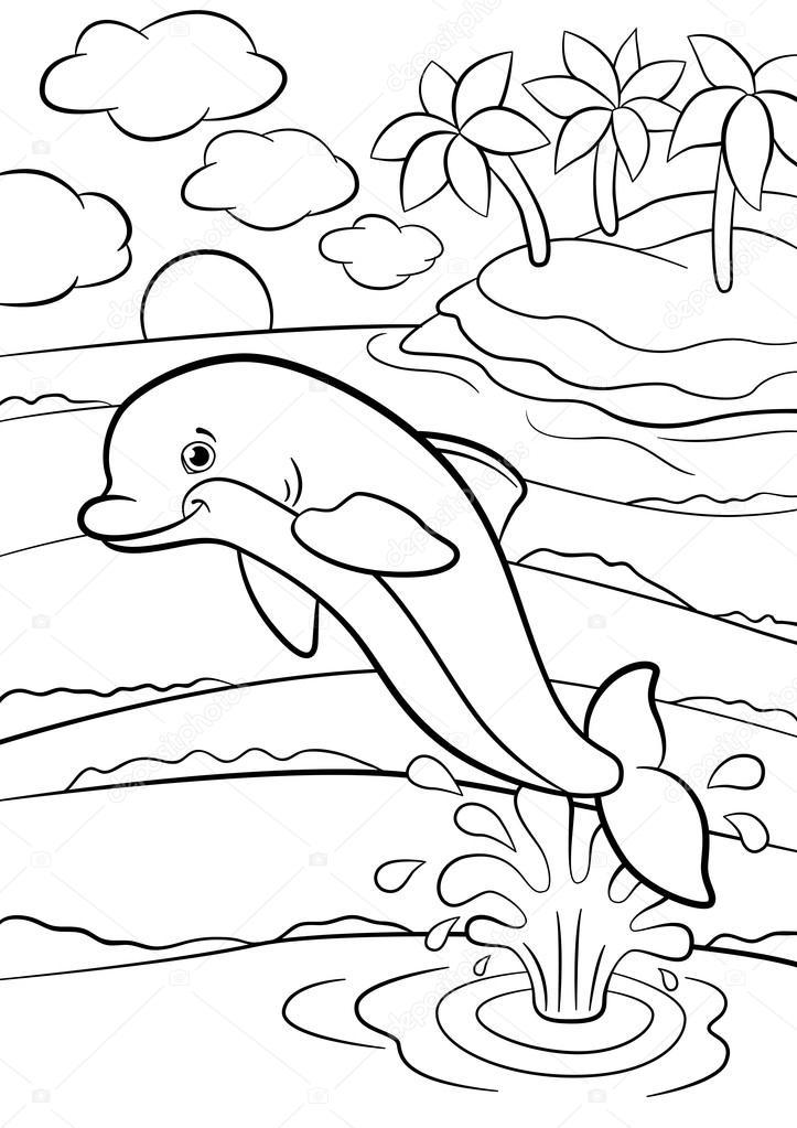 Boyama Sayfaları Deniz Vahşi Hayvanlar Küçük Sevimli Yunus F Atlar