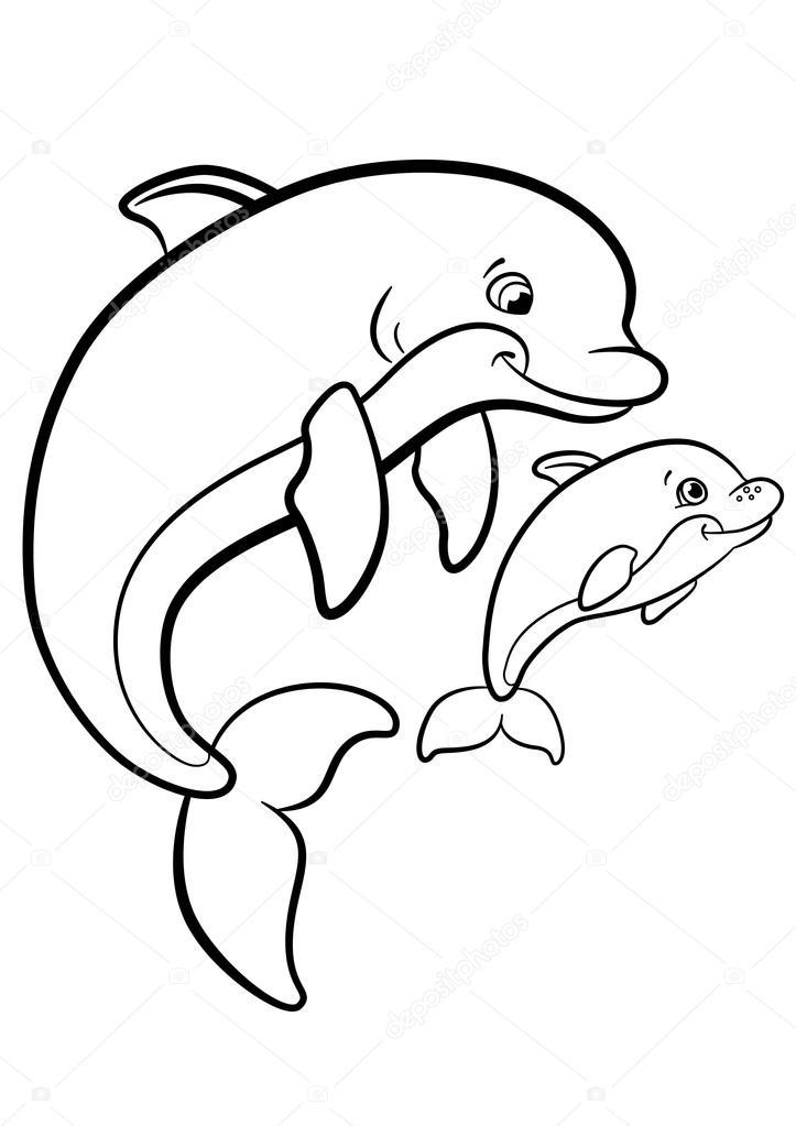 kleurplaten zeedieren moeder dolfijn zwemt met h