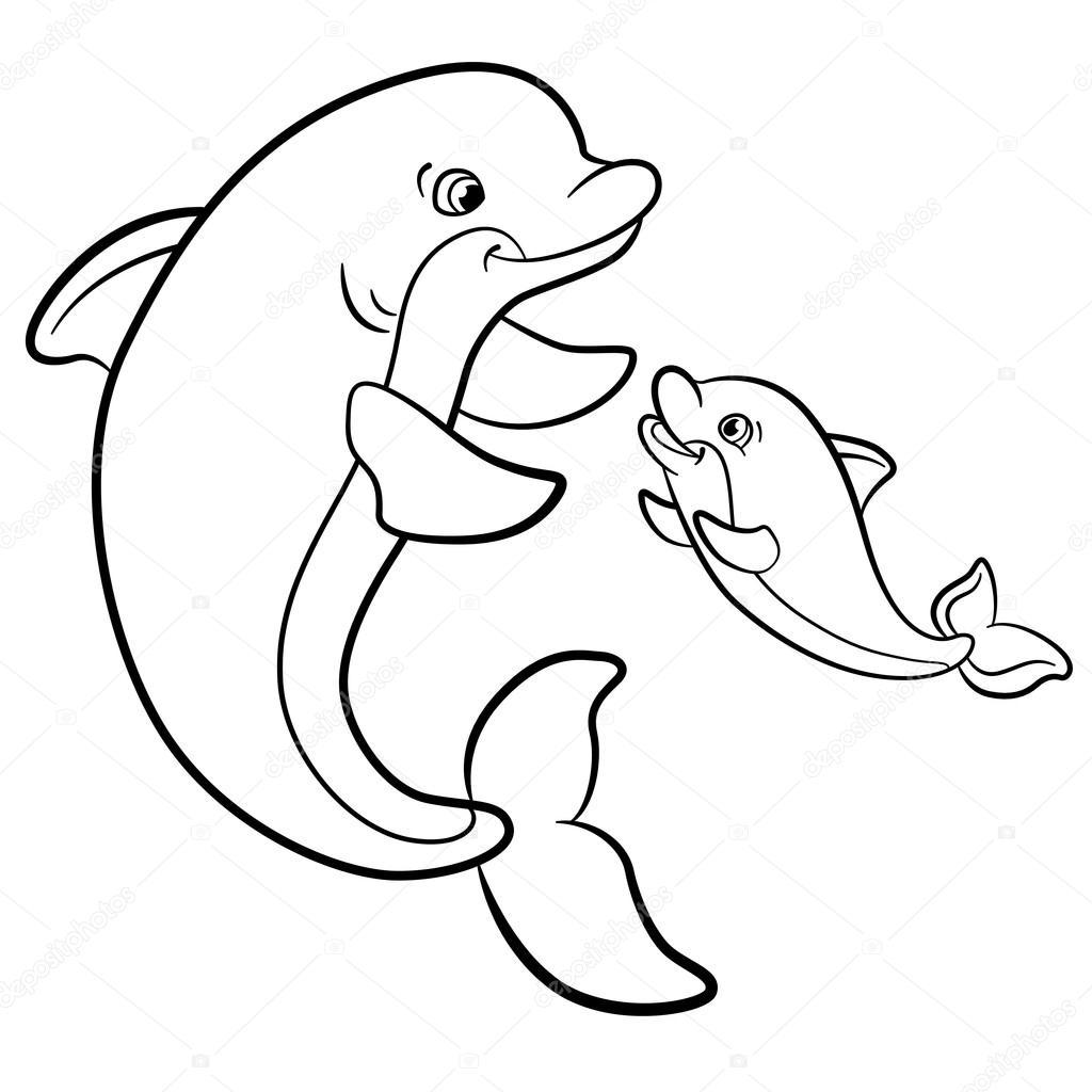 Dibujos para colorear. Animales salvajes marinos. Madre delfín nada ...