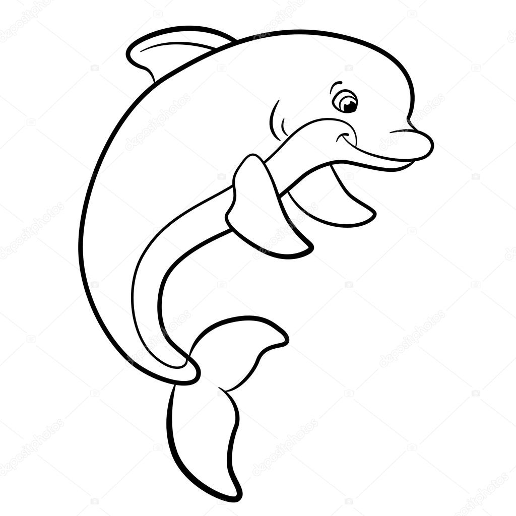 Coloring pages. Marine wild animals. Cute dolphin. — Stock Vector ...