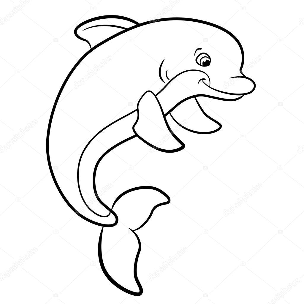 Boyama Sayfaları Deniz Vahşi Hayvanlar Sevimli Yunus Stok Vektör