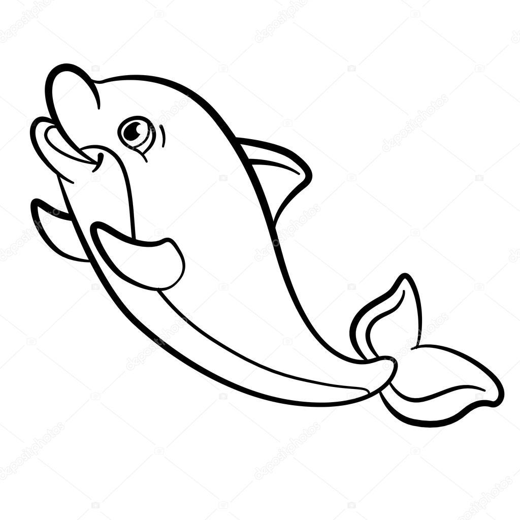 Kleurplaten Van Baby Dolfijnen.Kleurplaten Wild Zeedieren Kleine Schattige Baby Dolfijn