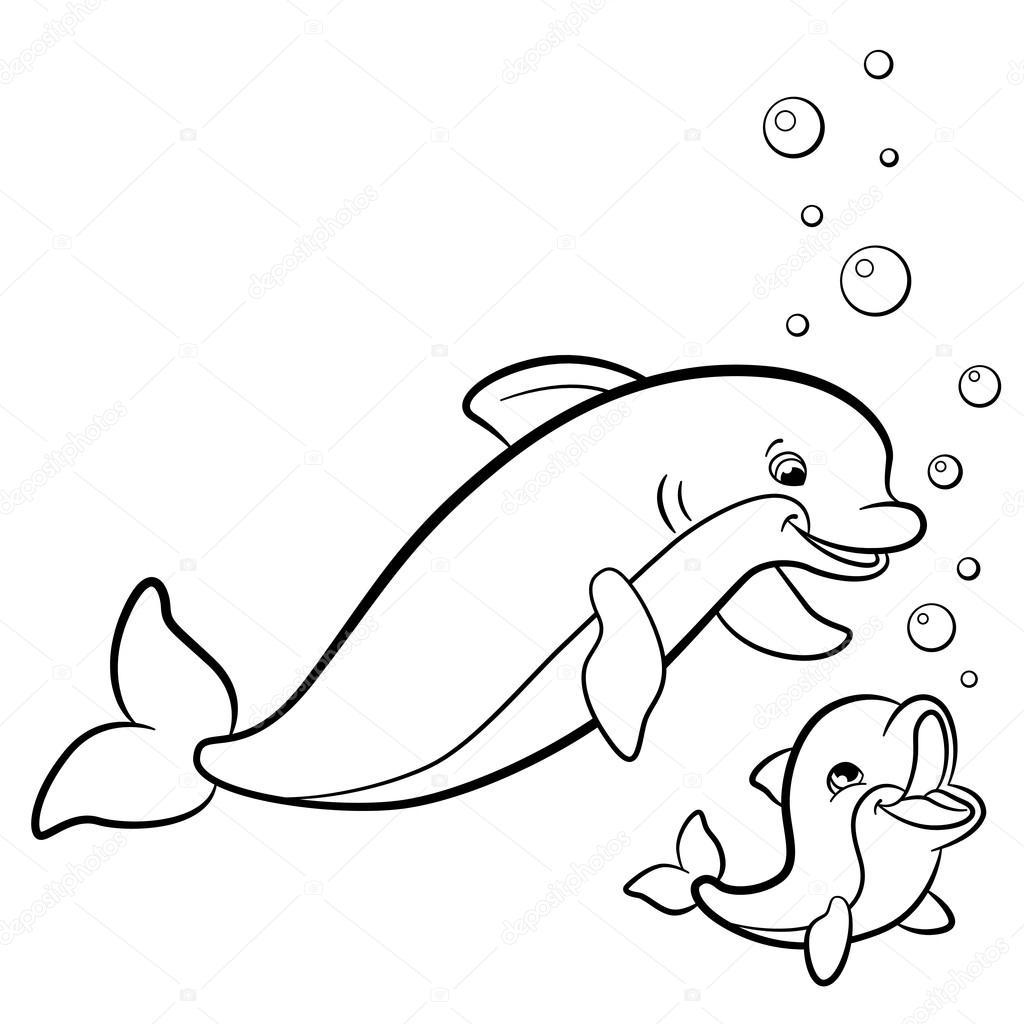 Kleurplaten Van Baby Dolfijnen.Kleurplaten Wild Zeedieren Moeder Dolfijn Zwemt Met H
