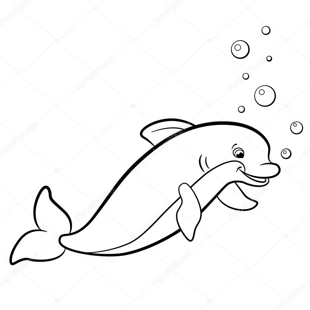 Dibujos para colorear. Animales salvajes marinos. Lindo delfín ...
