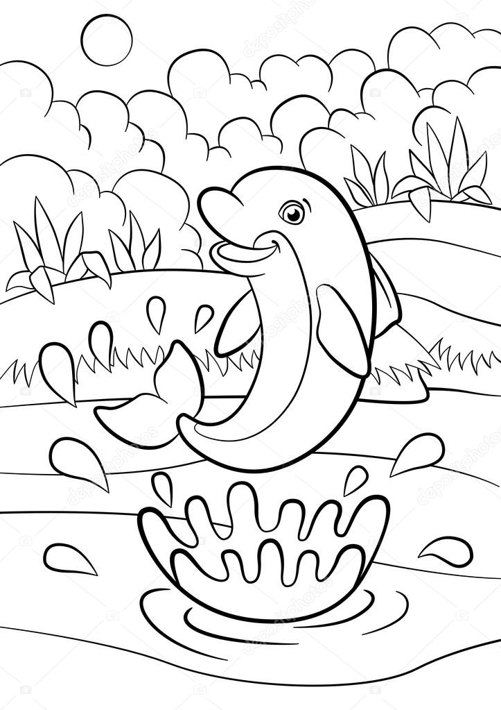 Dibujos para colorear. Animales salvajes marinos. Pequeño delfín ...