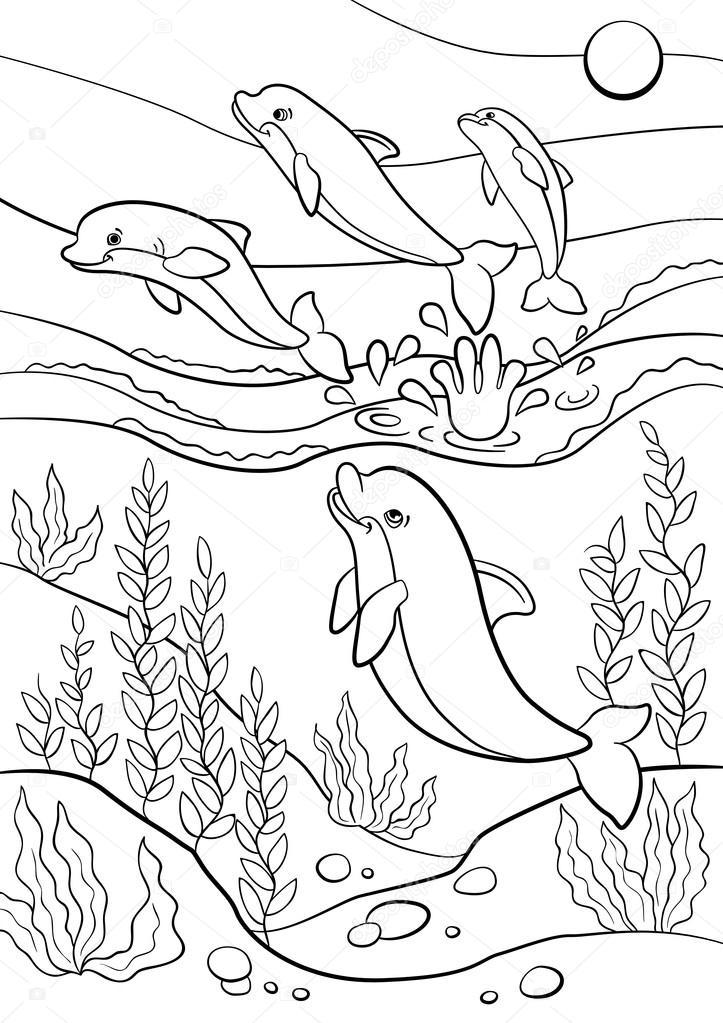 Dibujos para colorear. Animales salvajes marinos. Saltos de delfines ...