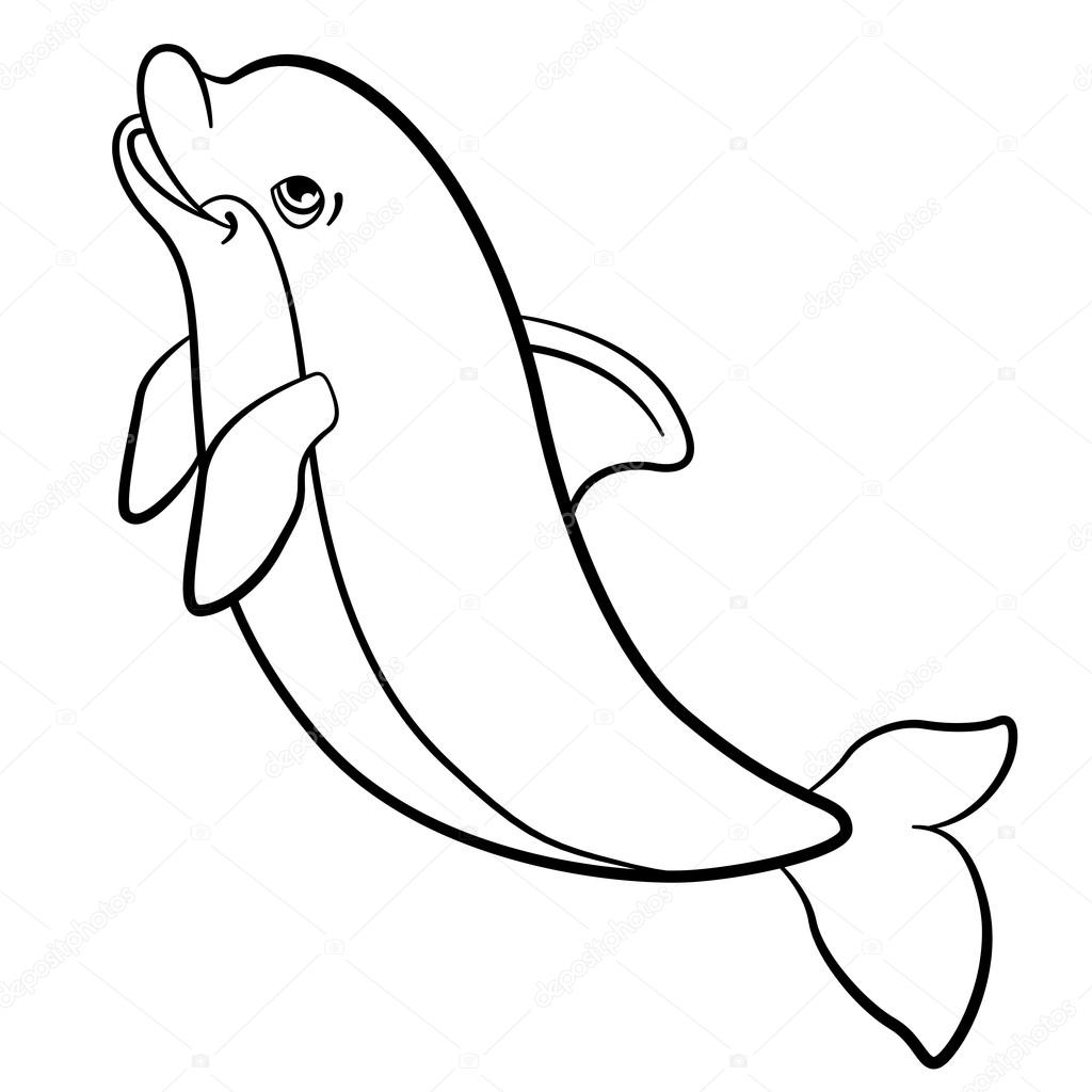 Coloring pages. Marine wild animals. Little cute dolphin jumps ...