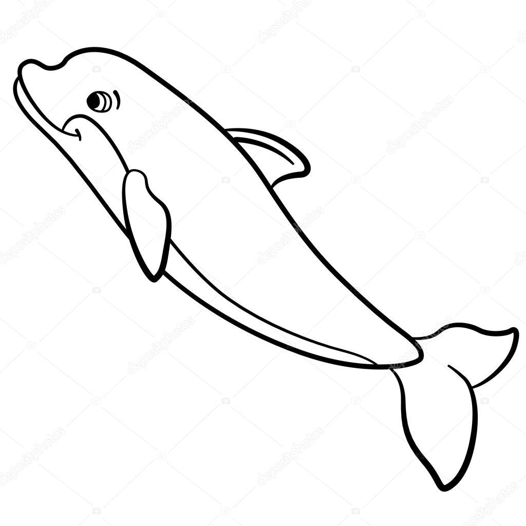 kleurplaten zeedieren kleine schattige dolfijn