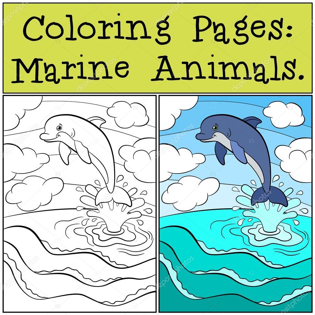 Dibujos para colorear: Animales marinos. Pequeño delfín lindo salta ...