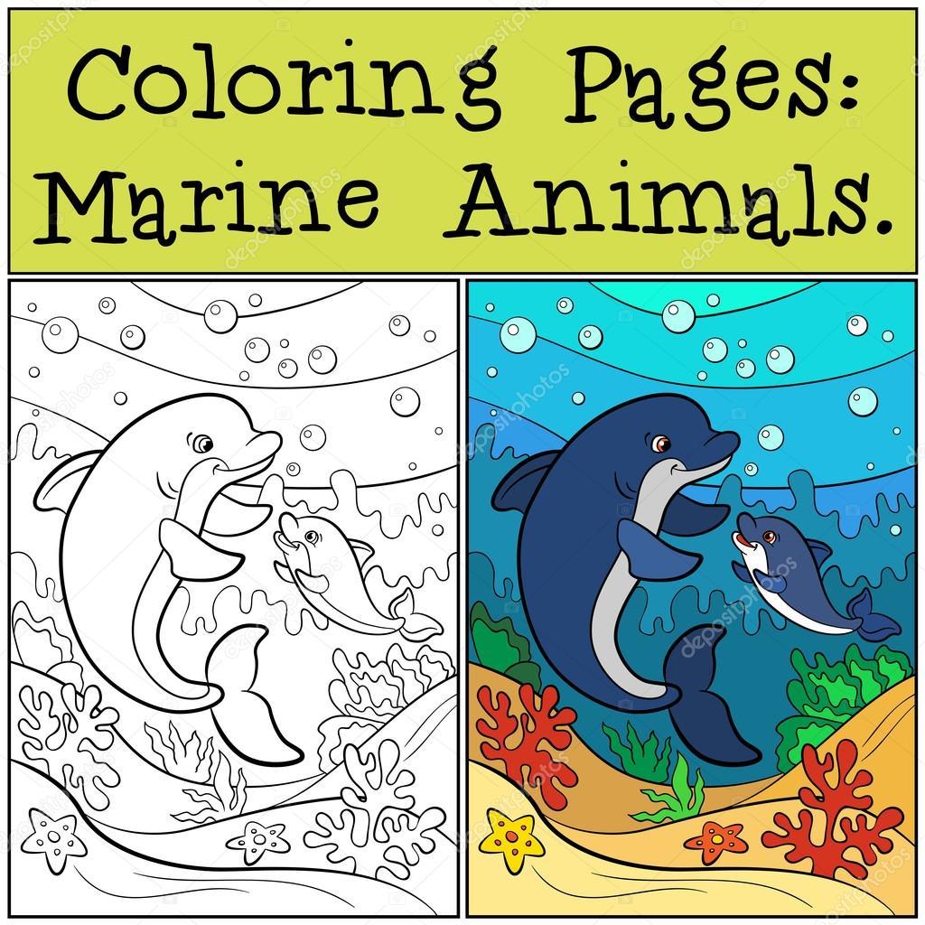 Malvorlagen: Meerestiere. Mutter Delphin schwimmt mit ihrer li ...