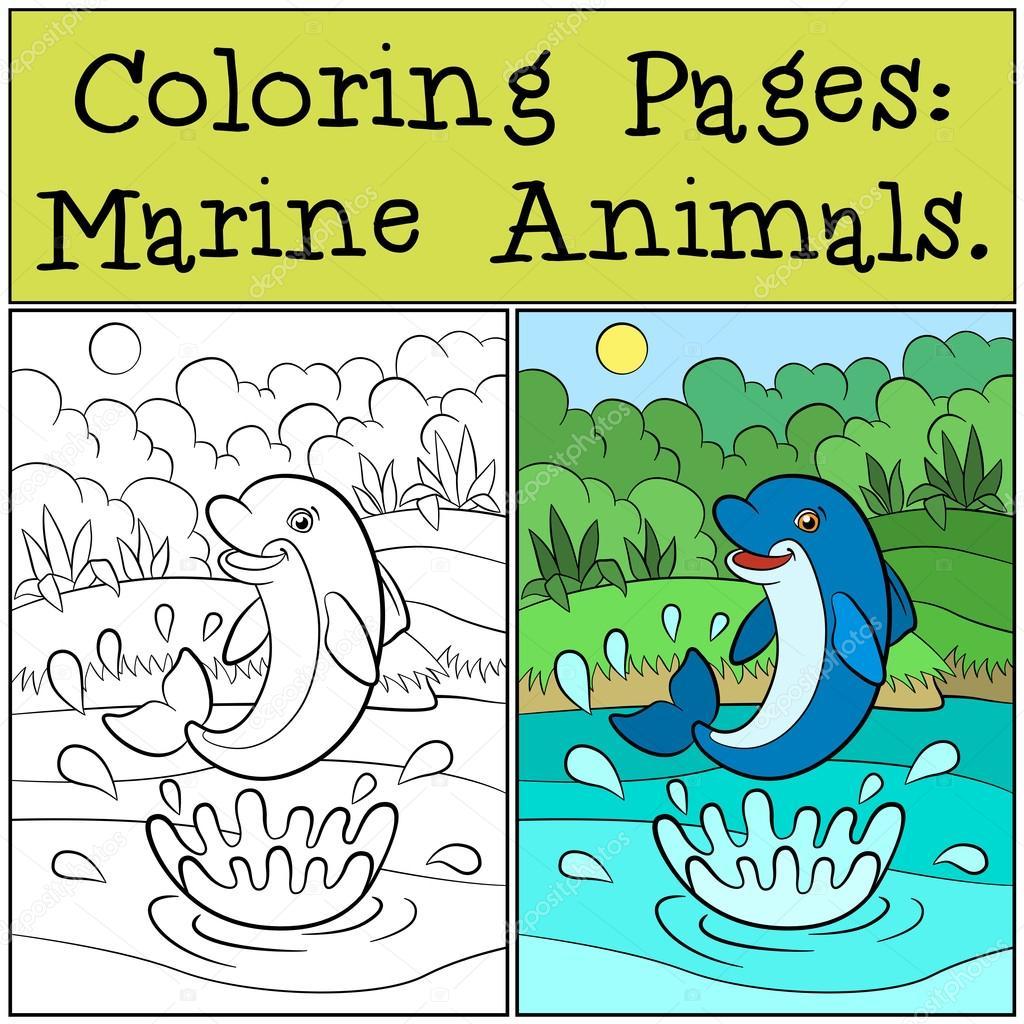 Malvorlagen: Meerestiere. Kleine niedliche Delfin springt von ...