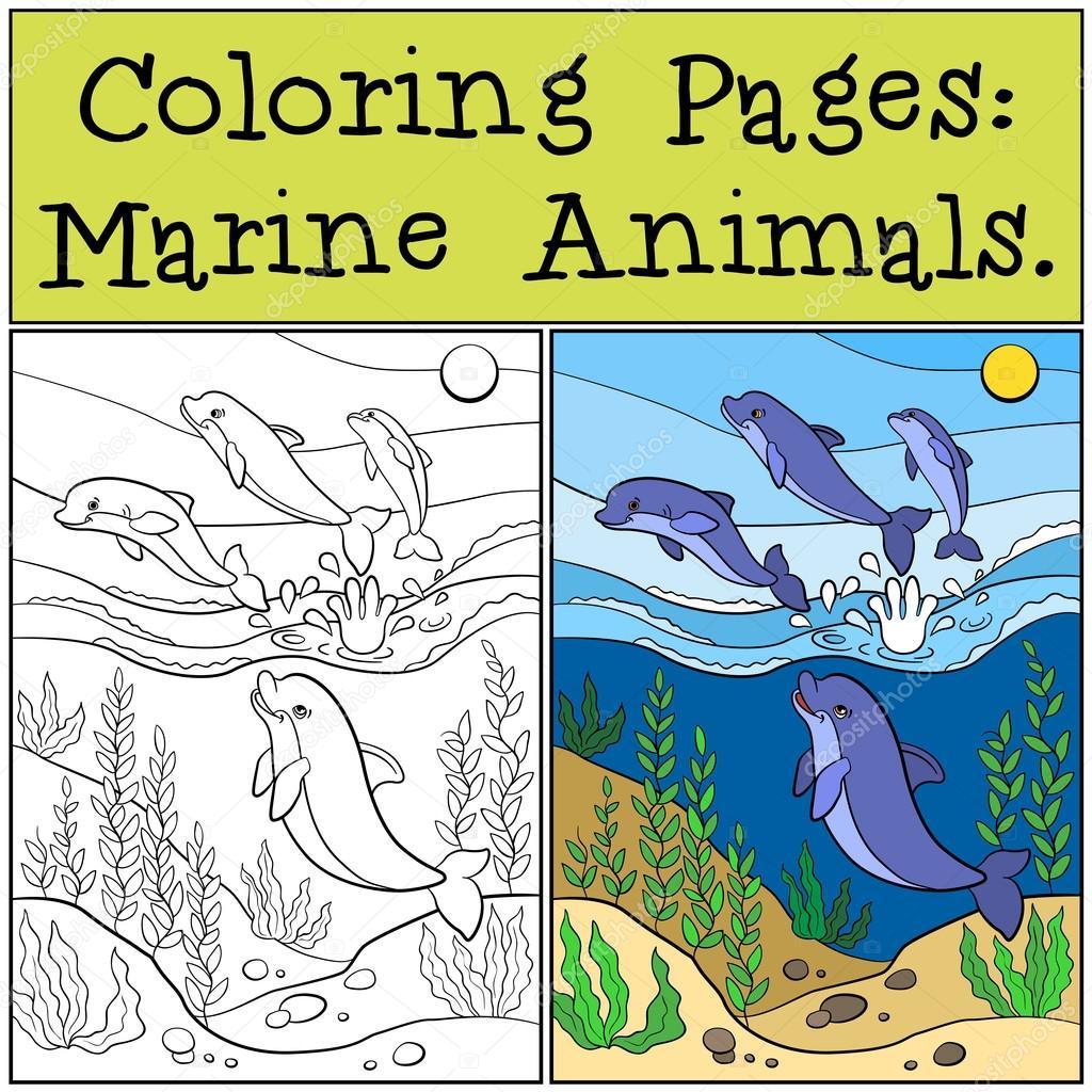 Dibujos para colorear: Animales marinos. Grupo de delfines lindos ...