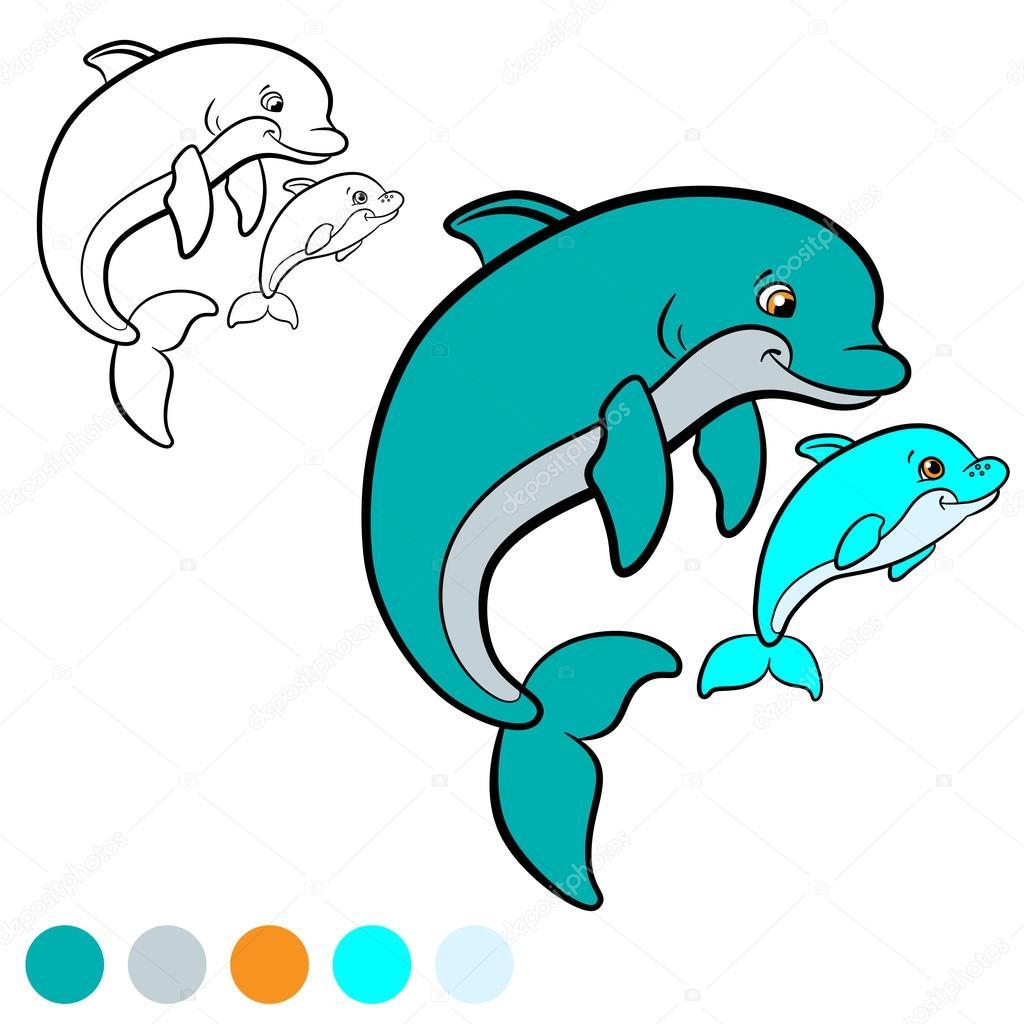 Kleurplaten Van Baby Dolfijnen.Kleurplaat Kleur Me Dolfijn Moeder Dolfijn Zwemt Met Haar
