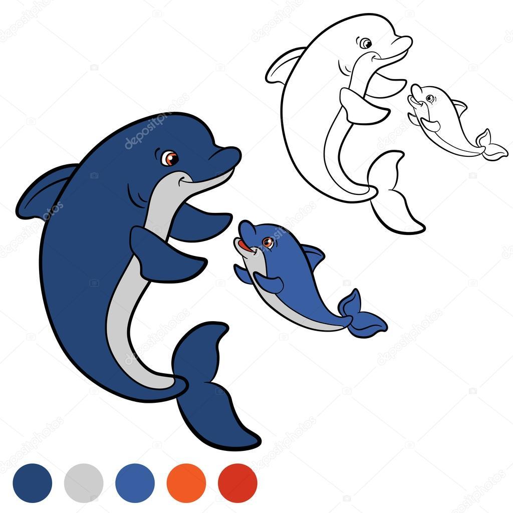 Malvorlagen. Color me: Delphin. Mutter Delphin schwimmt mit ihr ...