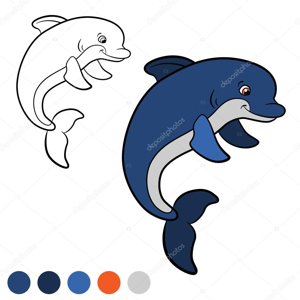 Coloring page. Color me: dolphin. Little cute dolphin jumps and ...