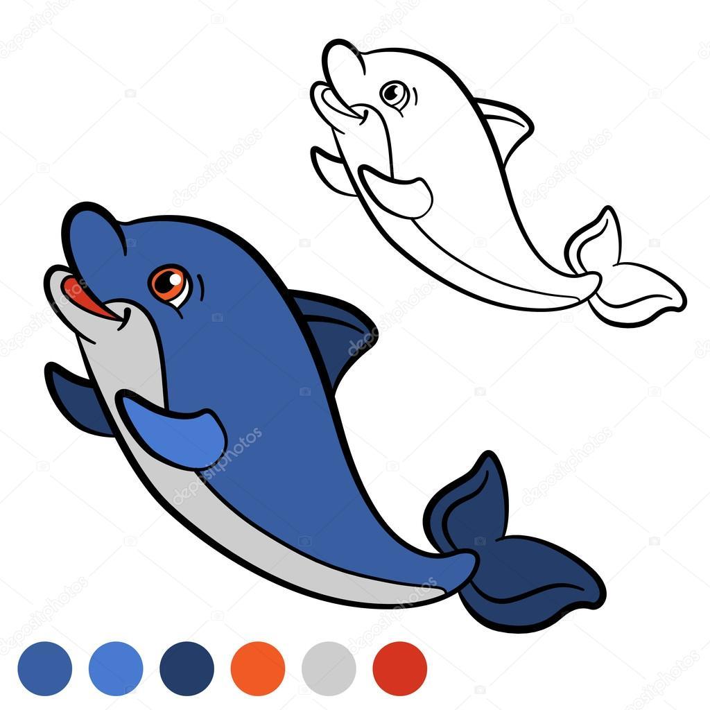 Página para colorear. Color me: Delfín. Delfín de lindo bebé poco ...