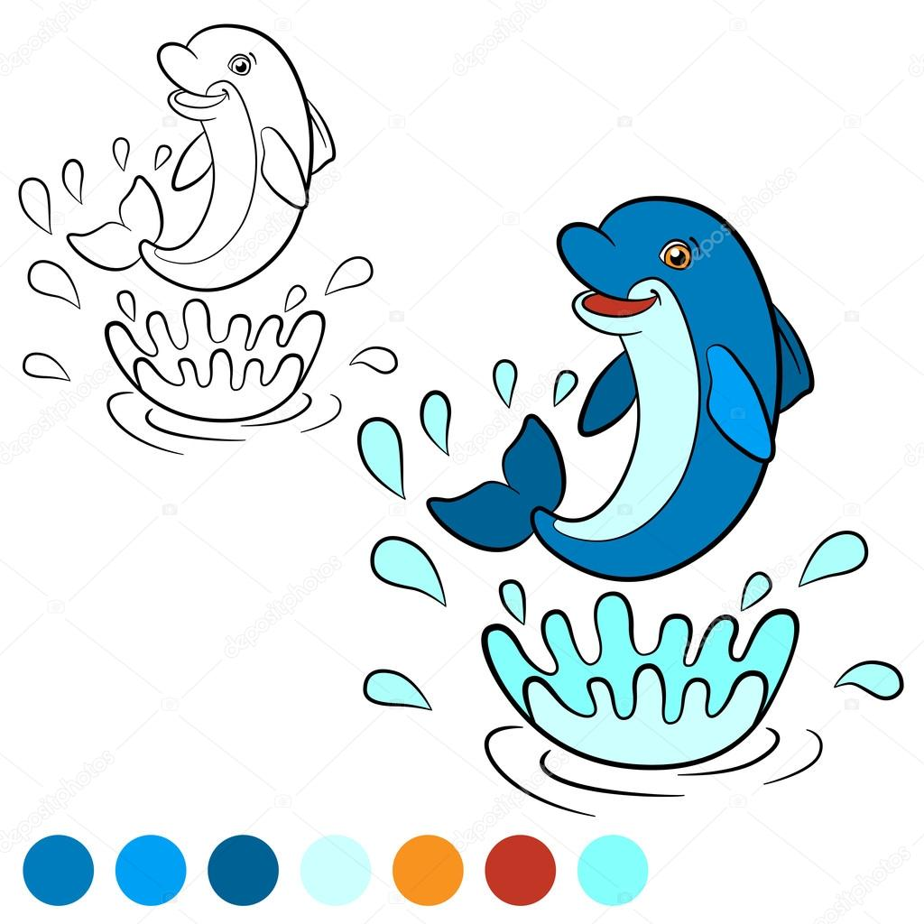Coloring page. Color me: dolphin. Little cute dolphin jumps out ...