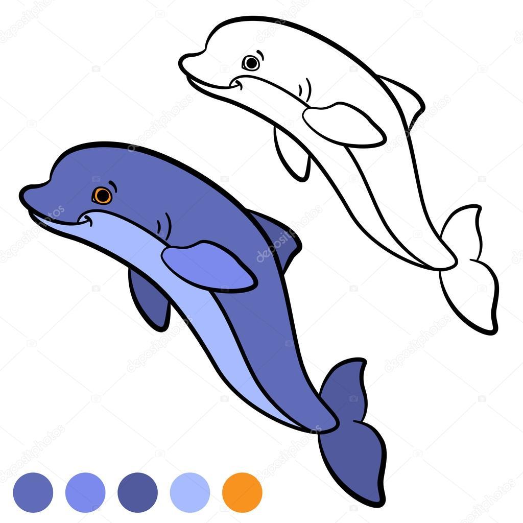 Boyama Sayfası Color Me Yunus Küçük Sevimli Yunus Atlar Ve Stok