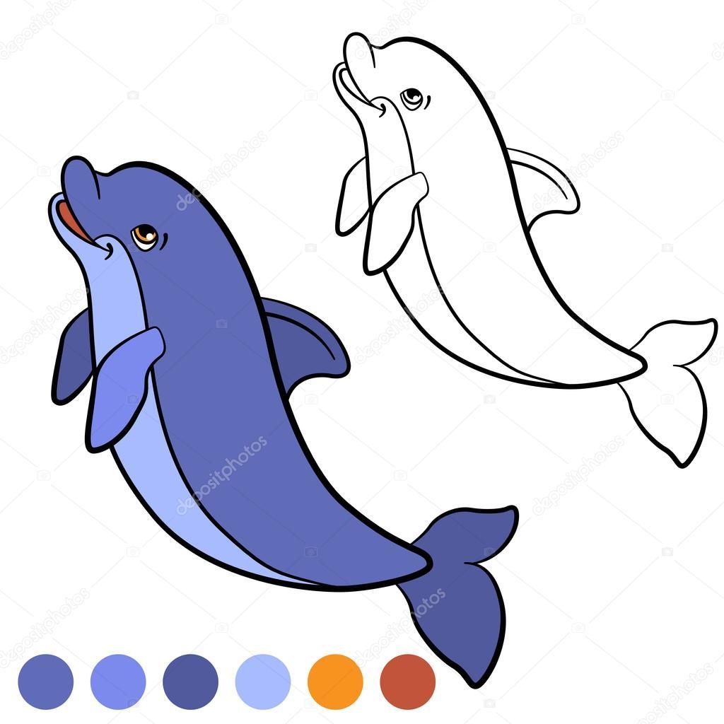 Malvorlagen. Color me: Delphin. Kleine niedliche Delfin springt und ...