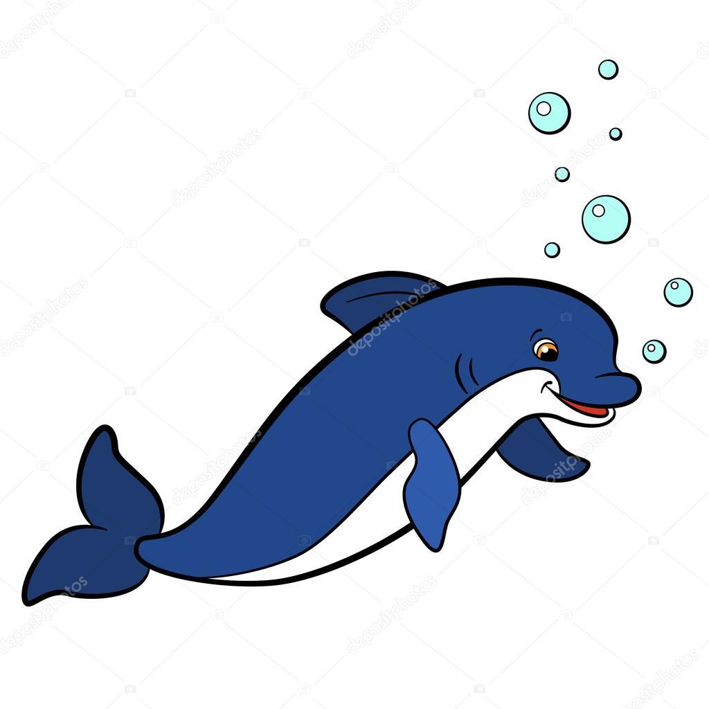 Comic-Tiere für Kinder. Kleine süße Delphin schwimmt — Stockvektor ...