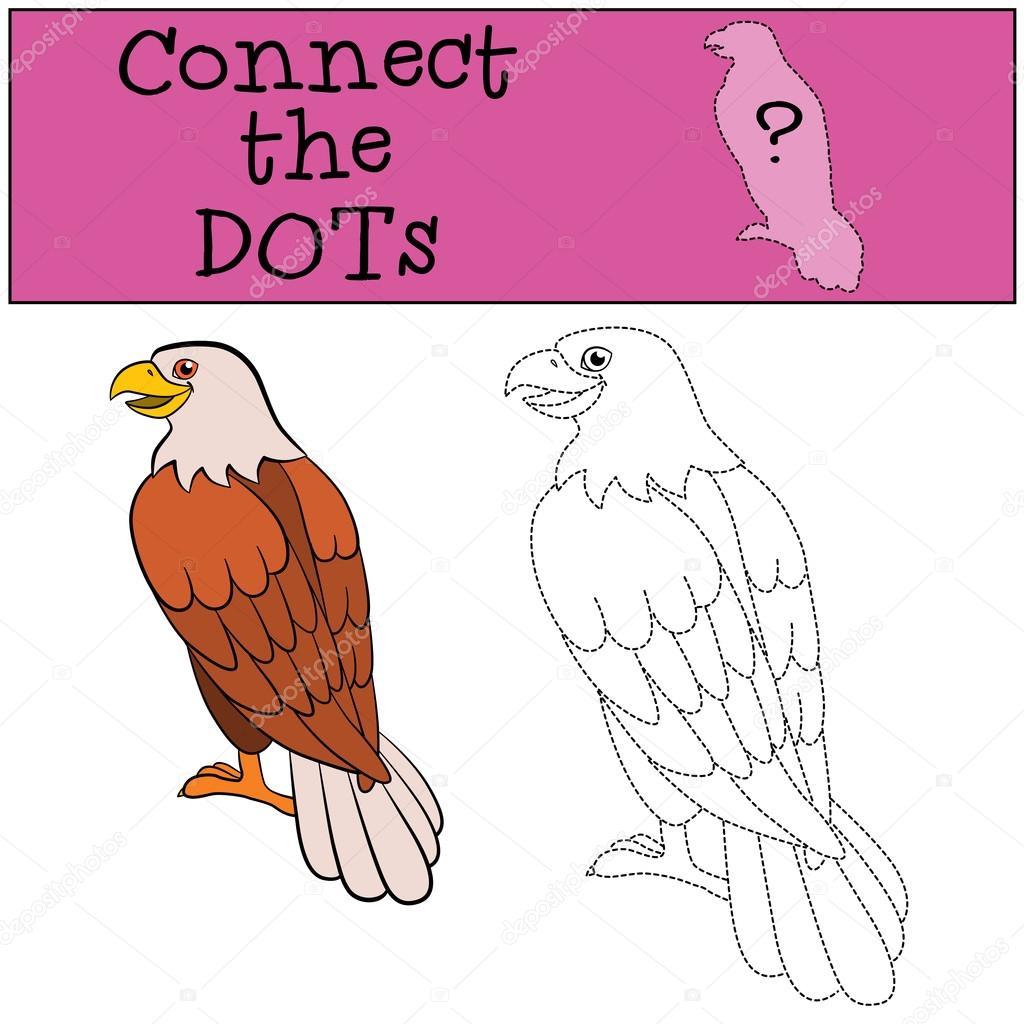Juegos educativos para niños: conectar los puntos. Águila calva ...