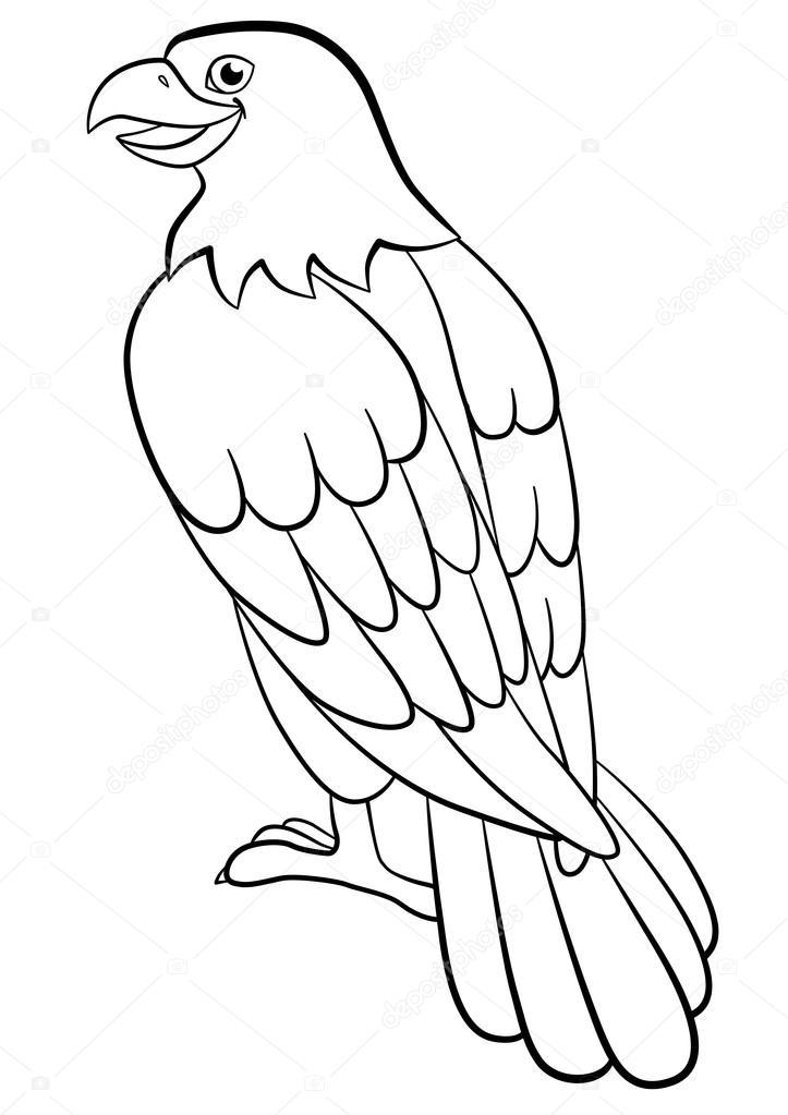 Dibujos para colorear. Aves silvestres. Linda águila sienta sonrisas ...