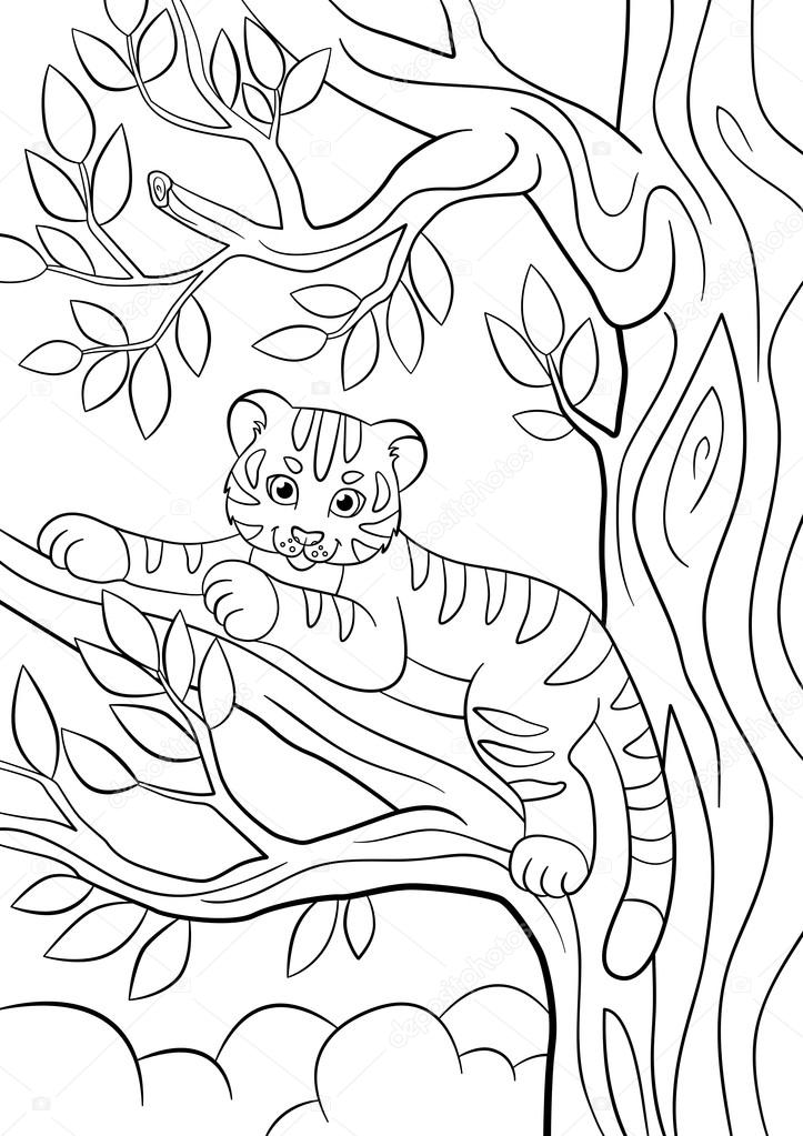 Coloring pages. Wild animals. Little cute baby tiger lays on the ...