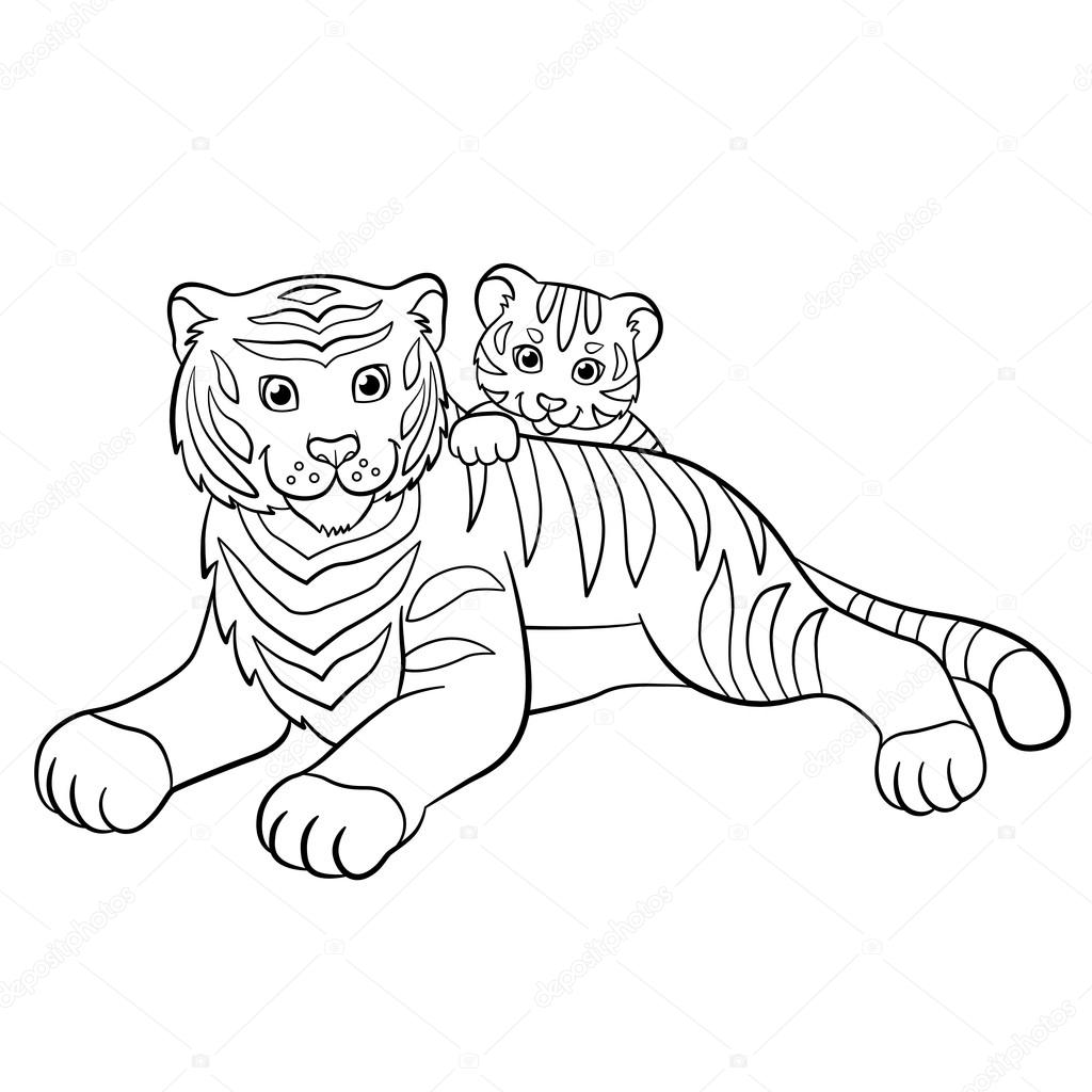 coloring pages wild animals smiling mother tiger with her little