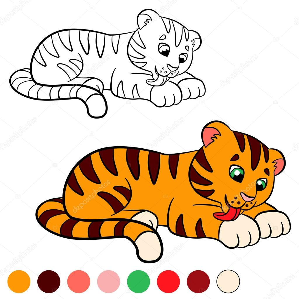 Coloring Page Color Me Tiger Little Cute Baby Cleans Himself Vektor Von Ya Mayka