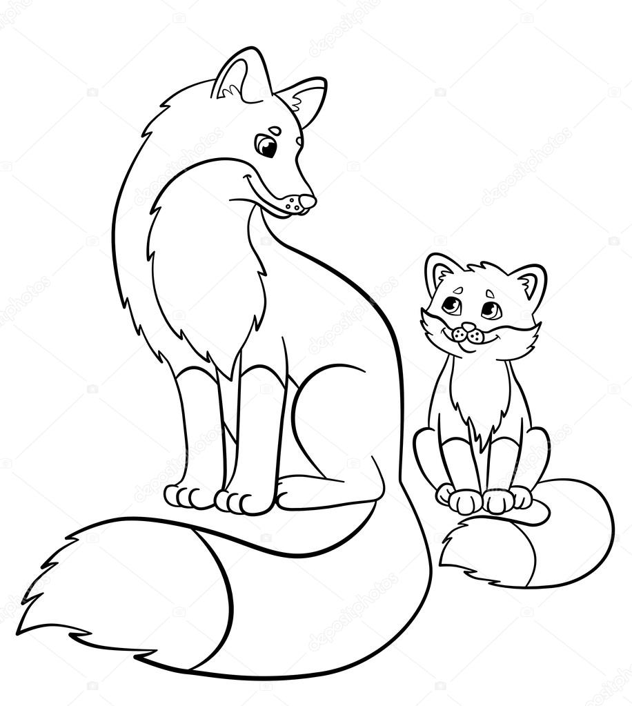 Coloring pages. Wild animals. Mother fox with her little ...