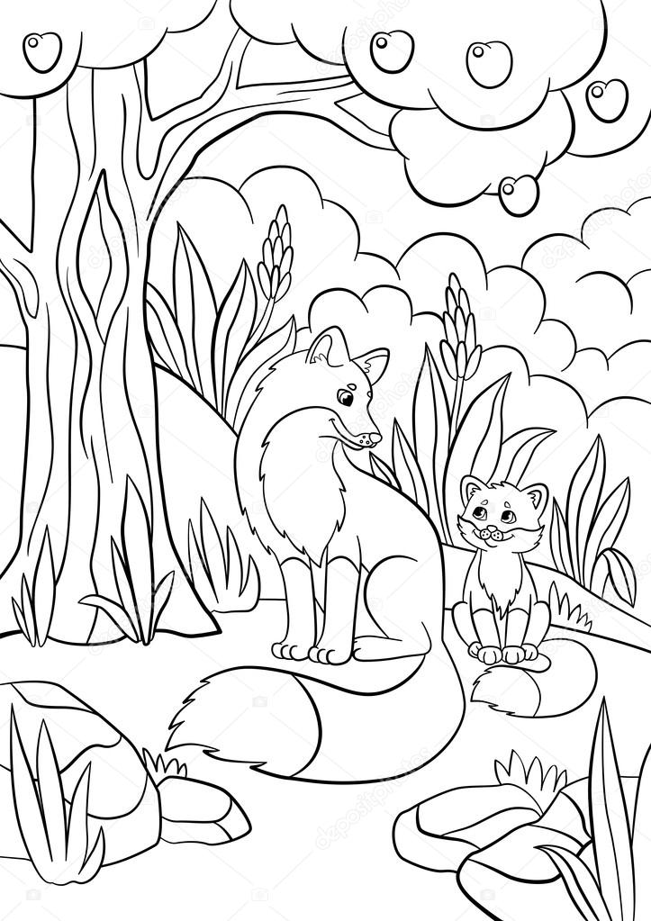Mother And Baby Animals Coloring Pages Coloring Pages. Wild Animals.  Mother Fox With Her Little Cute Baby Fox In The Forest. — Stock Vector ©  Ya-mayka #114471226