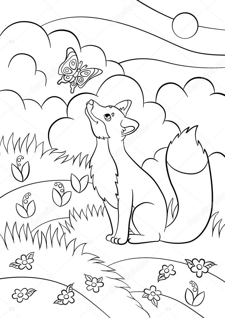 Images: Forest Animals Coloring Pages Coloring Pages. Wild Animals.  Little Cute Fox Looks At The Butterfly And Smiles. There Is Forest Around.  — Stock Vector © Ya-mayka #114471242